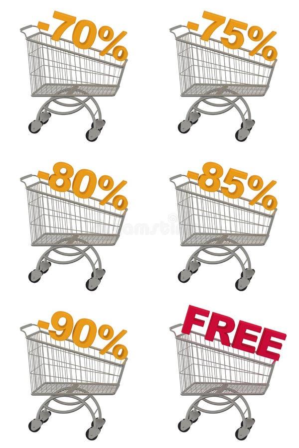 Uppsättning av shoppingvagnen med rabatt. vektor illustrationer