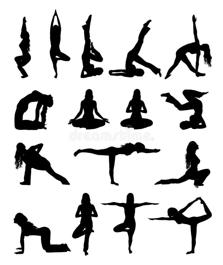 Uppsättning av sihouettekvinnan som gör yogaövning som isoleras på vit vektor illustrationer