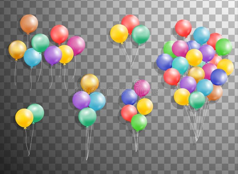 Uppsättning av silver, blått, grön heliumballong i luften Det frostade partiet sväller för händelsedesign Partigarneringar för bi vektor illustrationer