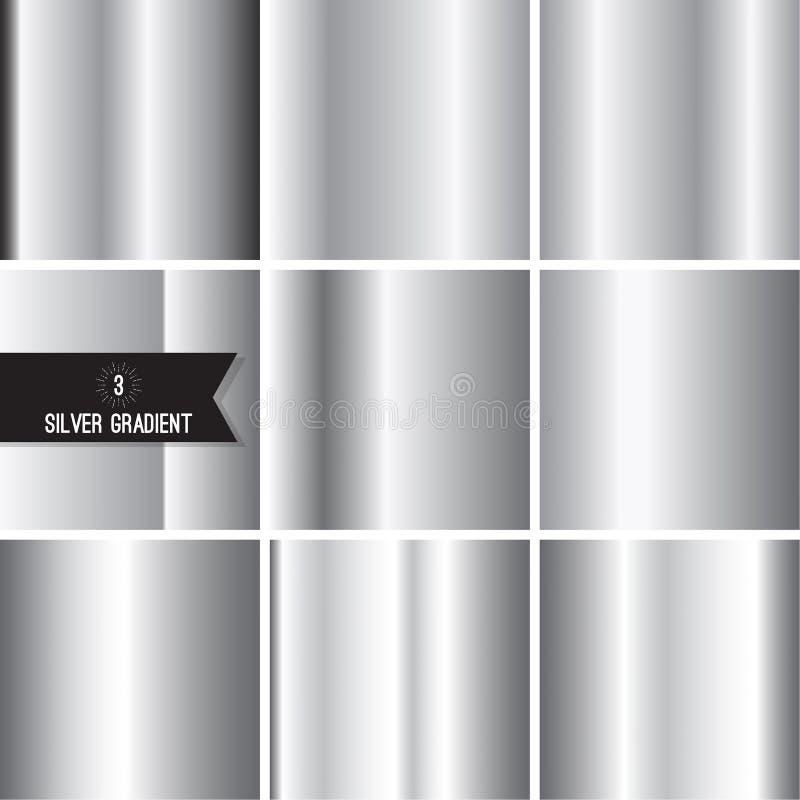 Uppsättning av silverfolietextur royaltyfri illustrationer