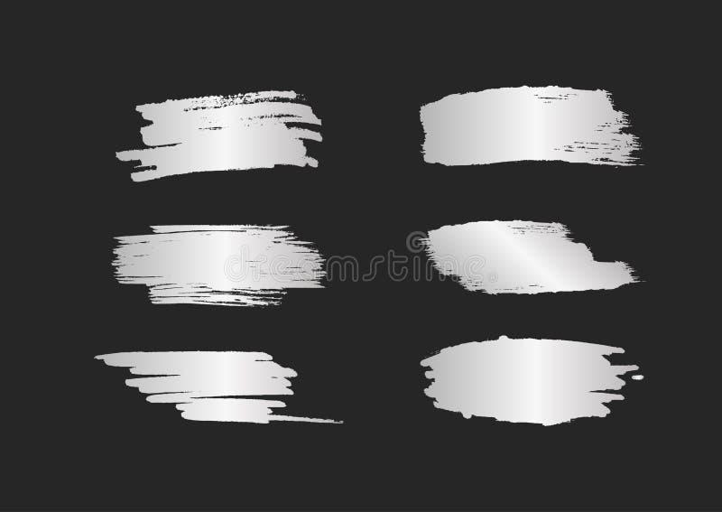 Uppsättning av silversudd Silvriga borsteslaglängder med sken som isoleras på svart bakgrund stock illustrationer