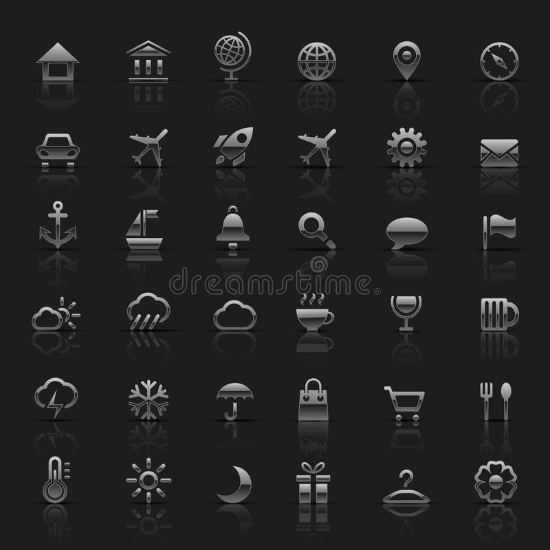 Uppsättning av silversymboler stock illustrationer