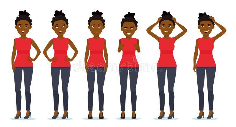 Uppsättning av sinnesrörelser för kvinna` s Roligt vända mot Uppsättning av emotionella stående för härlig afrikansk amerikanflic stock illustrationer