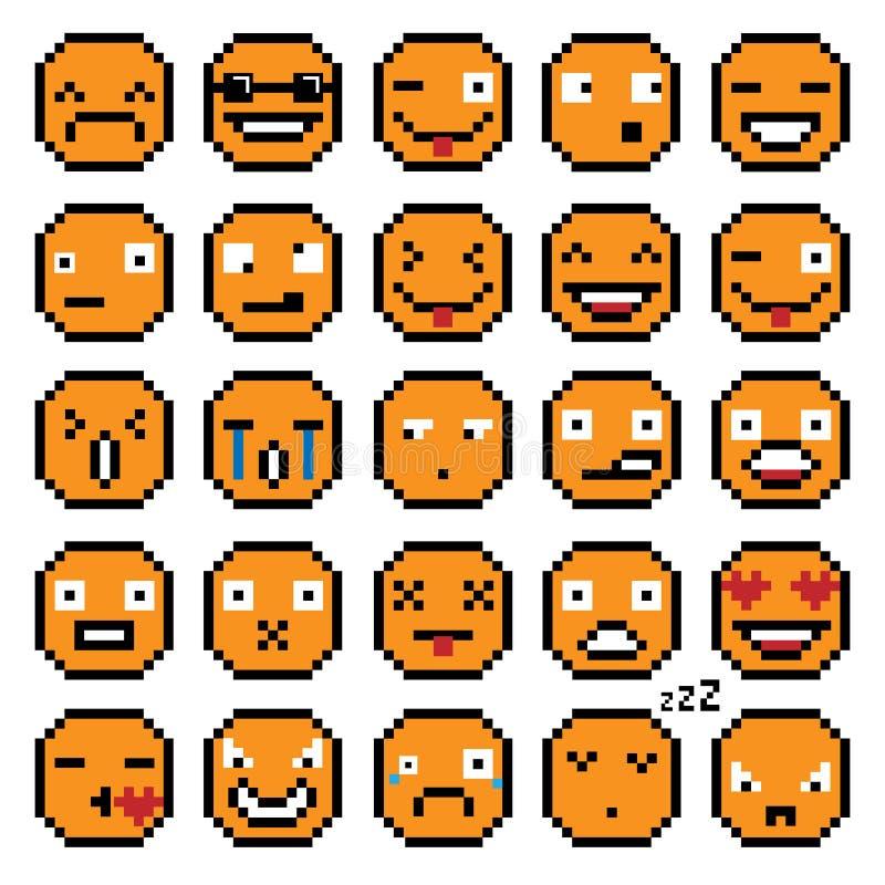 Uppsättning av sinnesrörelseuppsättningen av det retro leendet för PIXEL för leende för emojileendesymboler vektor illustrationer