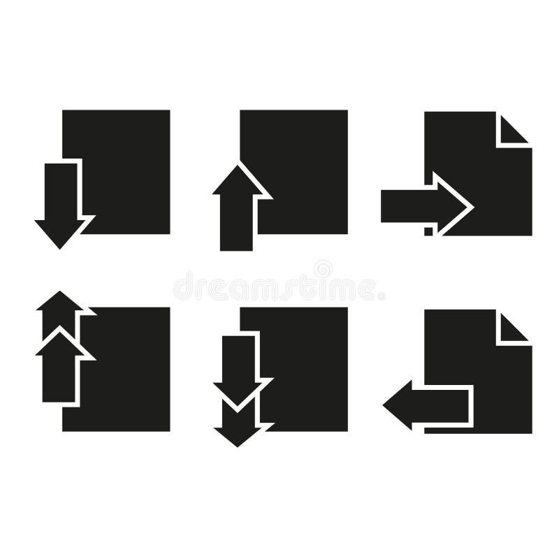 Uppsättning av sisten för sidasymbolspapper därefter royaltyfri illustrationer
