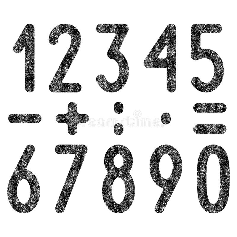 Uppsättning av sjaskiga nummer och matematiska symboler royaltyfri illustrationer