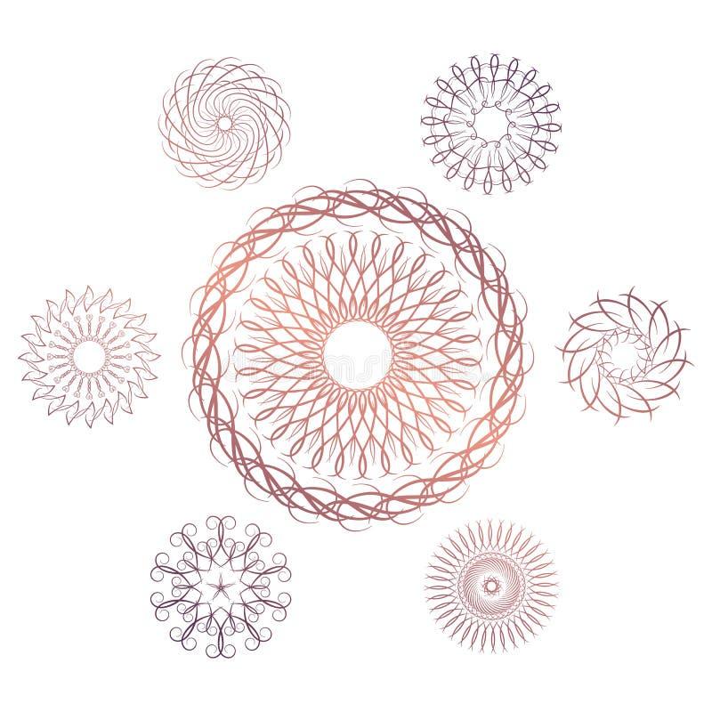 Uppsättning av sju geometriska runda beståndsdelar Vektormonogram på vit bakgrund stock illustrationer