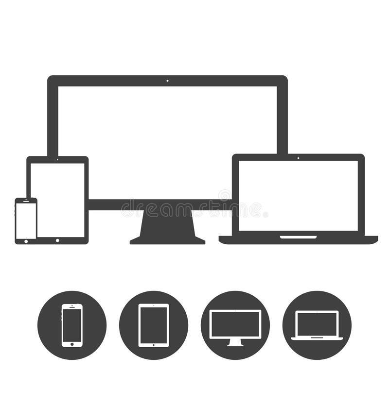 Uppsättning av skärm, bärbar dator, minnestavla och mobiltelefoner royaltyfri illustrationer