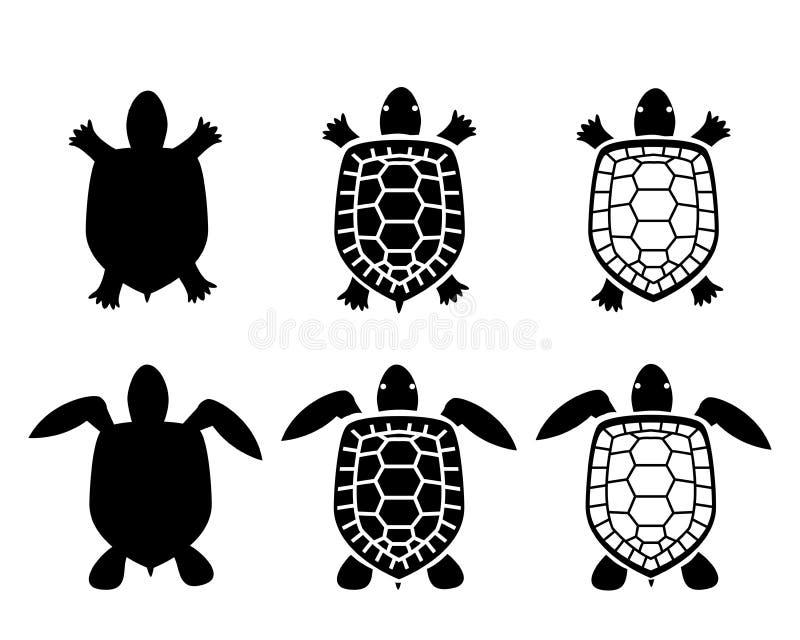 Uppsättning av sköldpadda- och sköldpaddasymboler, bästa sikt stock illustrationer