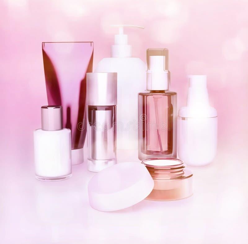 Uppsättning av skönhetsmedelkräm Dagligt skönhetomsorgskönhetsmedel royaltyfria foton