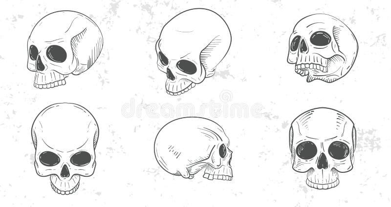 Uppsättning av skallehuvud stock illustrationer