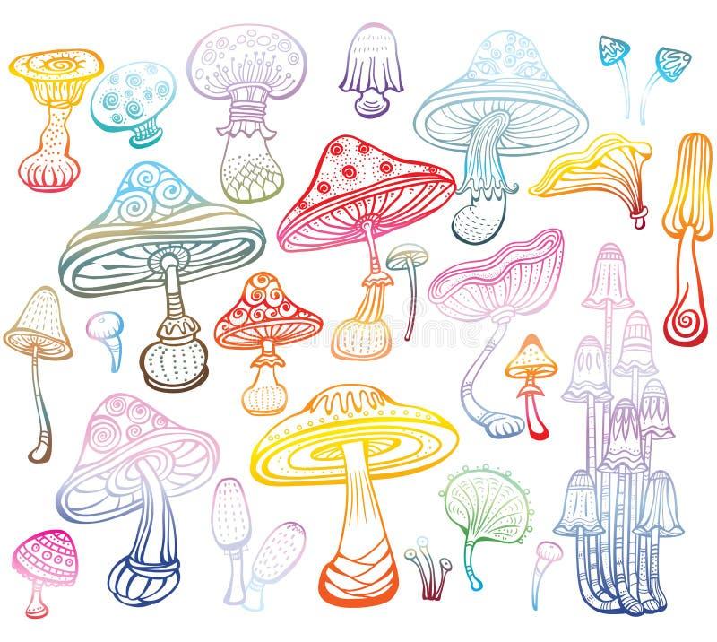 Uppsättning av Sketch av champinjoner royaltyfri illustrationer