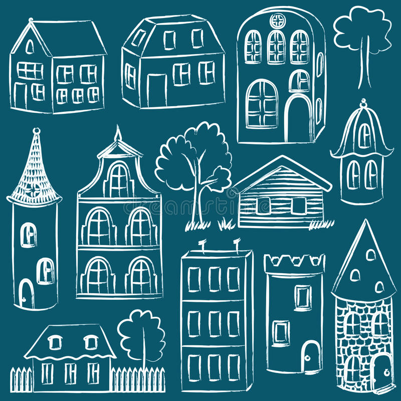 Uppsättning av skissade hus stock illustrationer