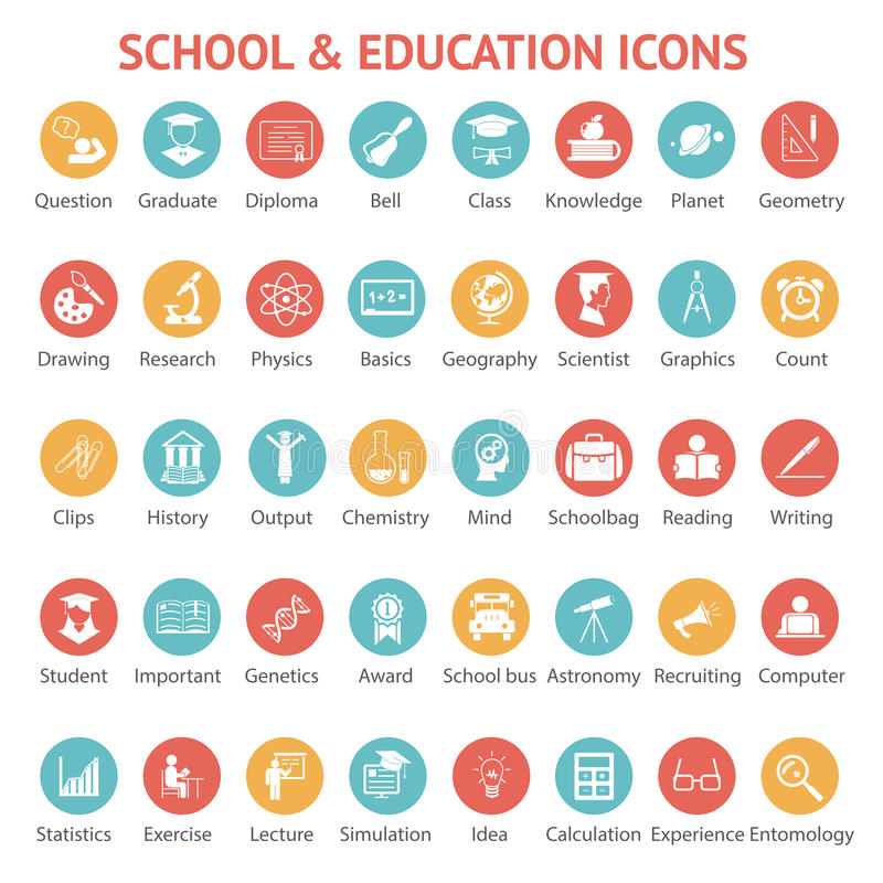 Uppsättning av skola- och utbildningssymboler stock illustrationer