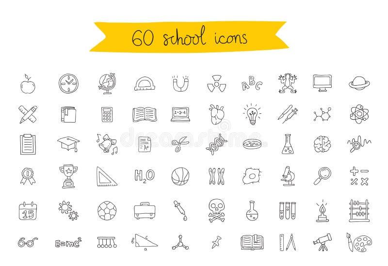 Uppsättning av 60 skolasymboler stock illustrationer