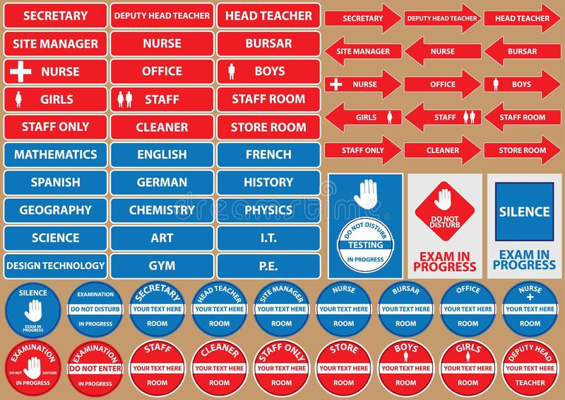 Uppsättning av skolmiljötecken/symboler stock illustrationer