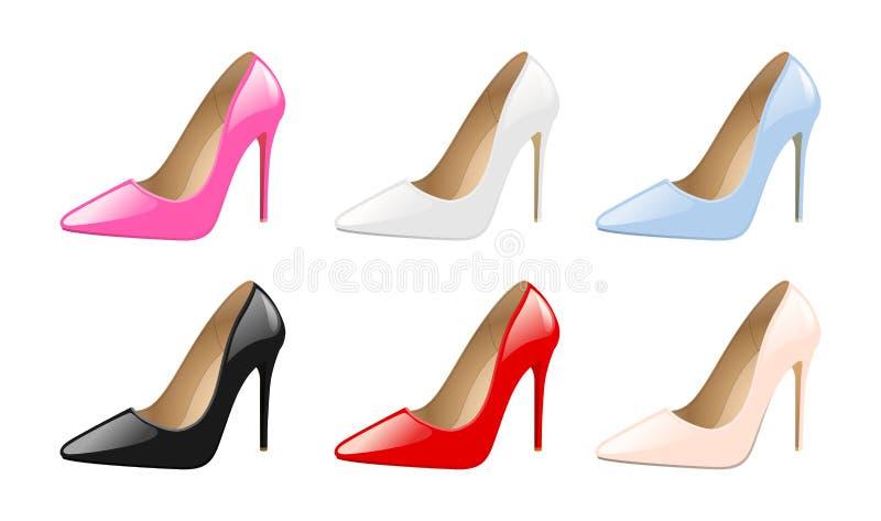 Uppsättning av skor för eleganta kvinnor, färgrika höga häl, moderiktigt skodon för mode som isoleras på den vita bakgrundsvektor stock illustrationer