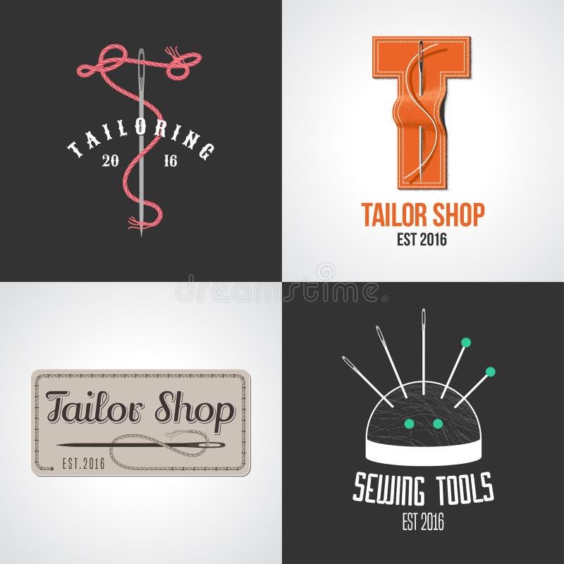 Uppsättning av skräddaren, ateliervektorlogo, symbol, symbol, emblem, tecken vektor illustrationer