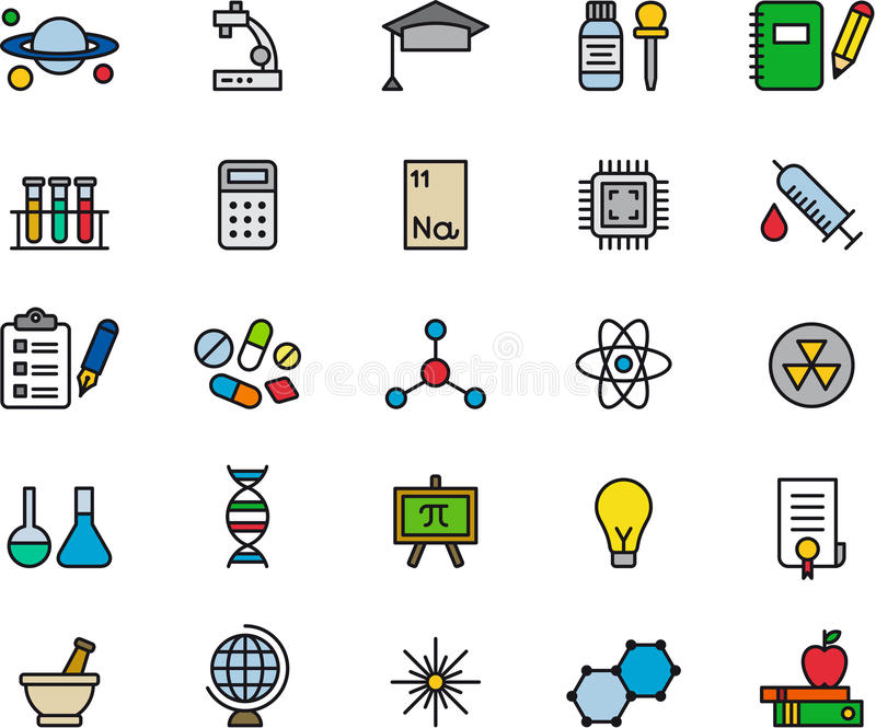 Uppsättning av släkta symboler för vetenskap royaltyfri illustrationer