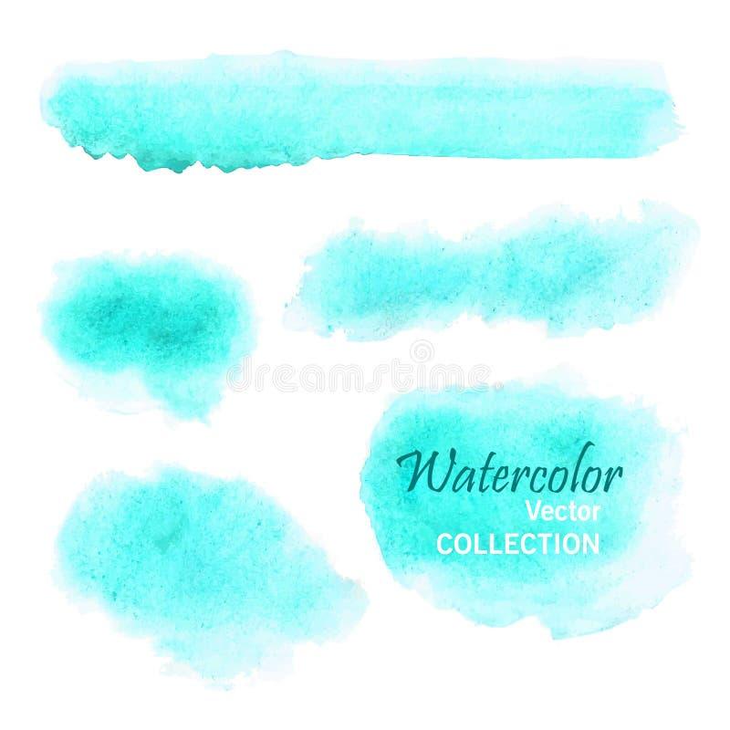 Uppsättning av släta vattenfärgfläckar i mjuka pastellfärgade färger - blått, turkos, akvamarin stock illustrationer