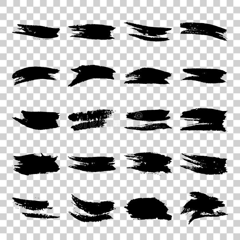 Uppsättning av slaglängder för borste för grungesvartvattenfärg stock illustrationer