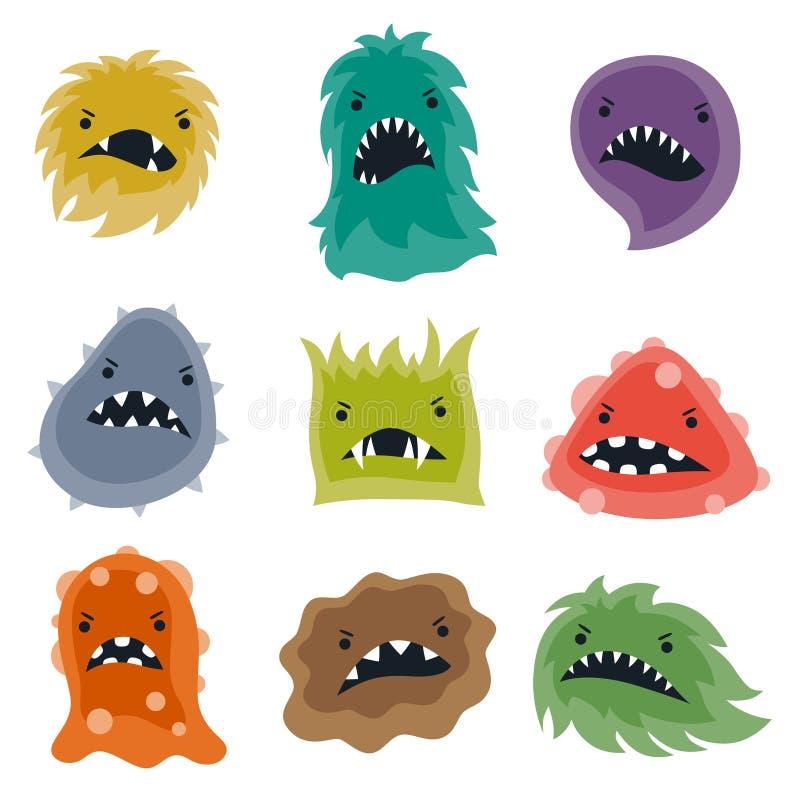 Uppsättning av små ilskna virus och monster vektor illustrationer