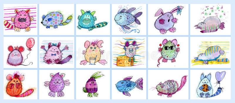 Uppsättning av små monster vektor illustrationer
