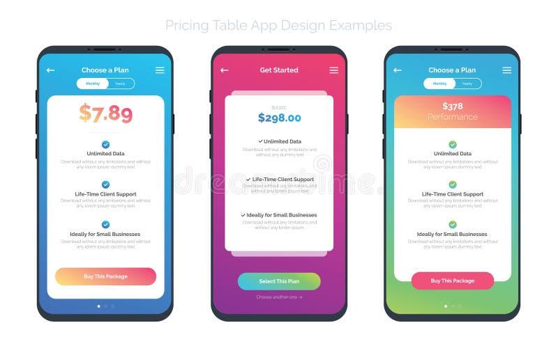 Uppsättning av av 3 Smart-telefoner med prissättningtabellen stock illustrationer