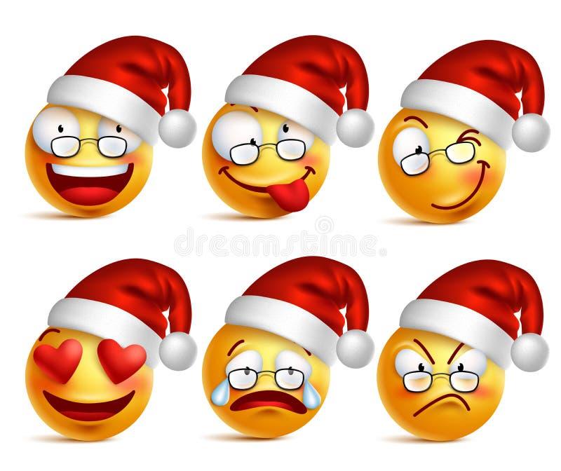 Uppsättning av Smileyframsidan av Santa Claus gulingemoticons med ansiktsuttryck och julhatten stock illustrationer