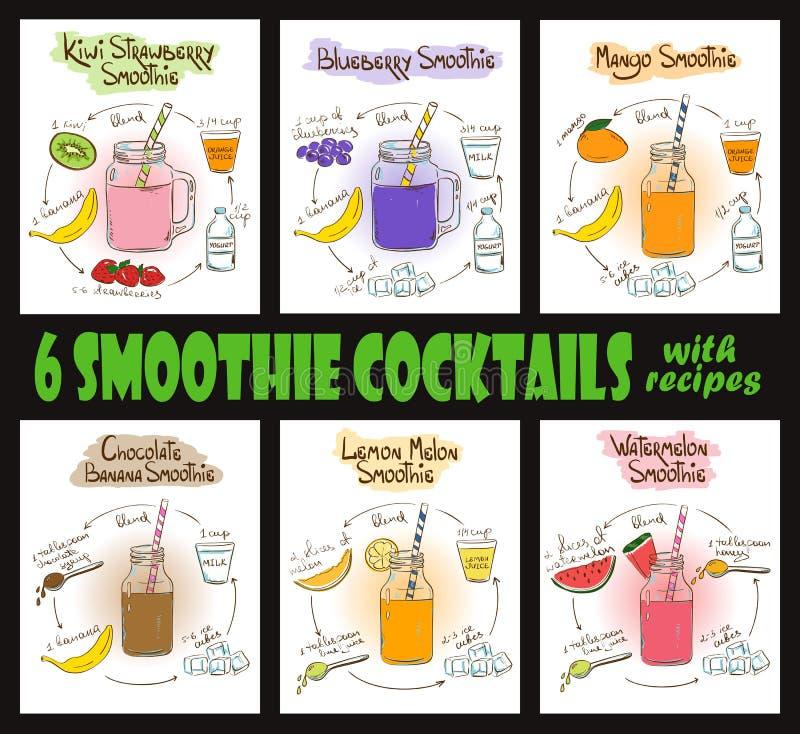 Uppsättning av Smoothiecoctailar med recept stock illustrationer