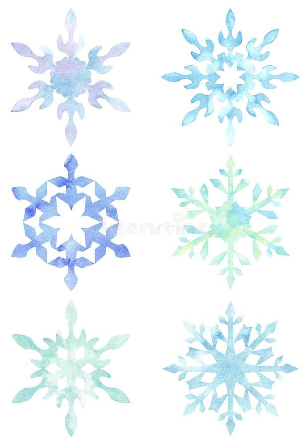 Uppsättning av snöflingor som isoleras på vit bakgrund royaltyfri illustrationer