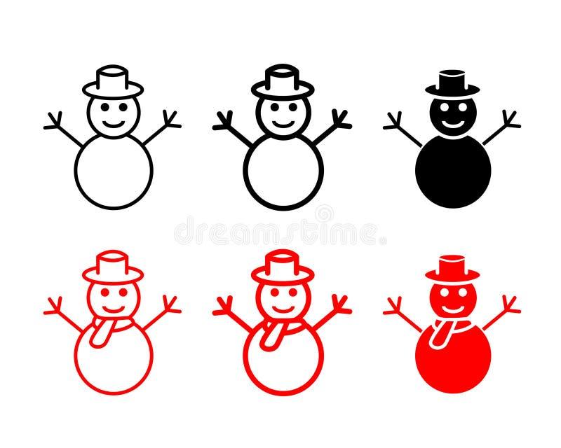 Uppsättning av snögubbesymboler och symbolet, vektor vektor illustrationer