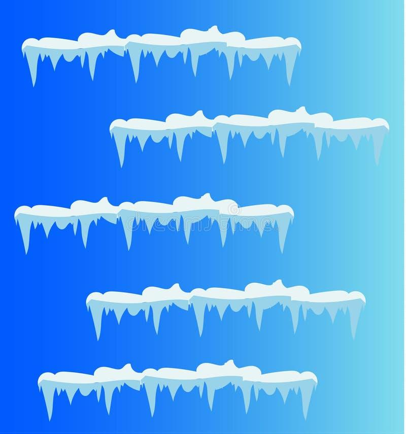 Uppsättning av snöistappar, snölock stock illustrationer