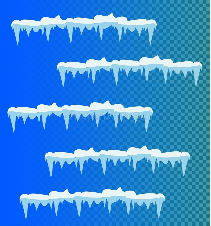 Uppsättning av snöistappar, snölock vektor illustrationer