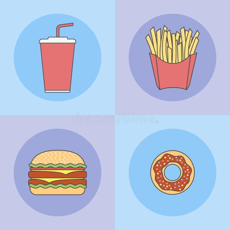 Uppsättning av snabbmatlägenhetlinjen symboler Munk, hamburgare, fransmansmåfiskar och sodavattentakeaway stock illustrationer