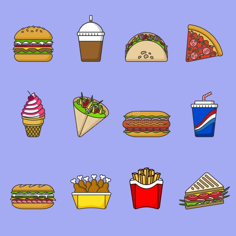 Uppsättning av snabbmatsymboler Drinkar, mellanmål och sötsaker Färgrik skisserad symbolssamling white för vektor för bakgrundsil stock illustrationer