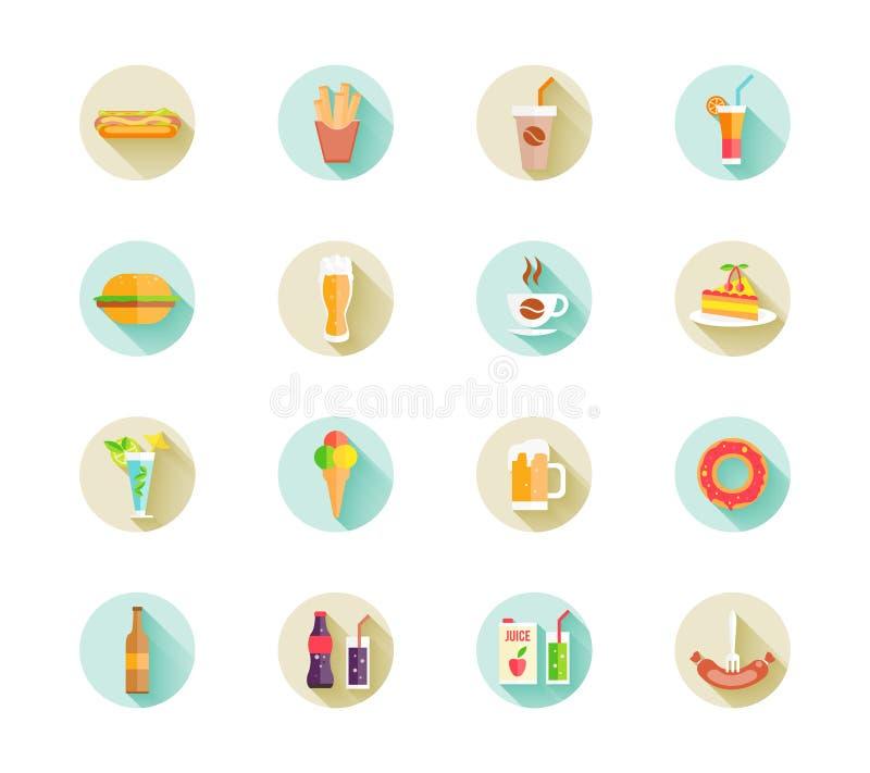 Uppsättning av snabbmatsymboler på rengöringsdukknappar stock illustrationer