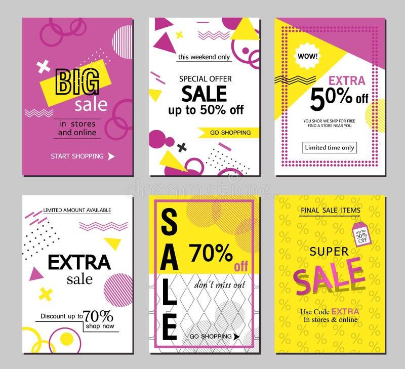 Uppsättning av sociala mallar för baner för för massmediaförsäljningswebsite och mobil Vektorbaner, affischer, reklamblad, email, royaltyfri illustrationer