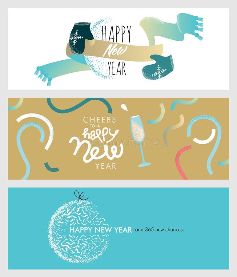 Uppsättning av sociala massmediabaner för jul och för nytt år royaltyfri illustrationer