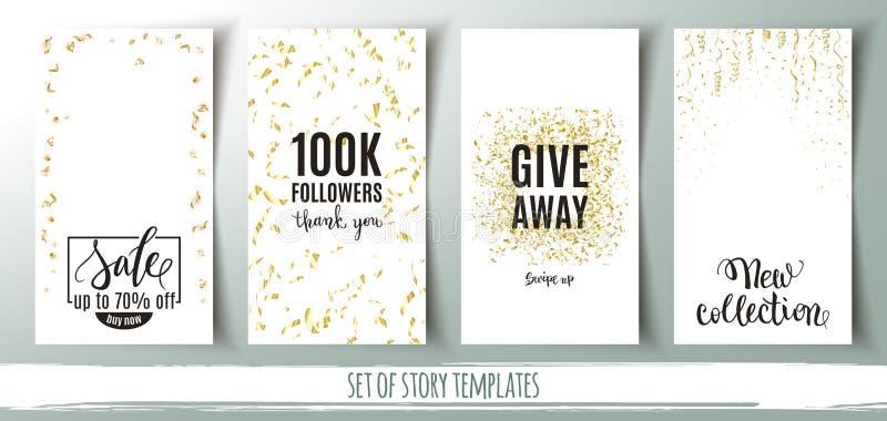 Uppsättning av sociala massmediaberättelsemallar, baner med guld- konfettibakgrunds- och shoppingmeddelanden, vektorillustration vektor illustrationer