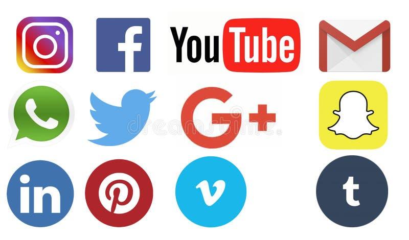 Uppsättning av sociala massmedialogoer stock illustrationer