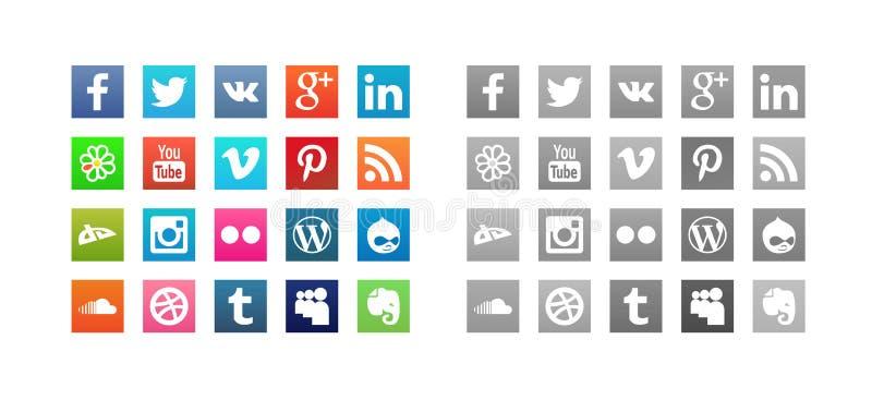 Uppsättning av sociala massmediasymboler stock illustrationer