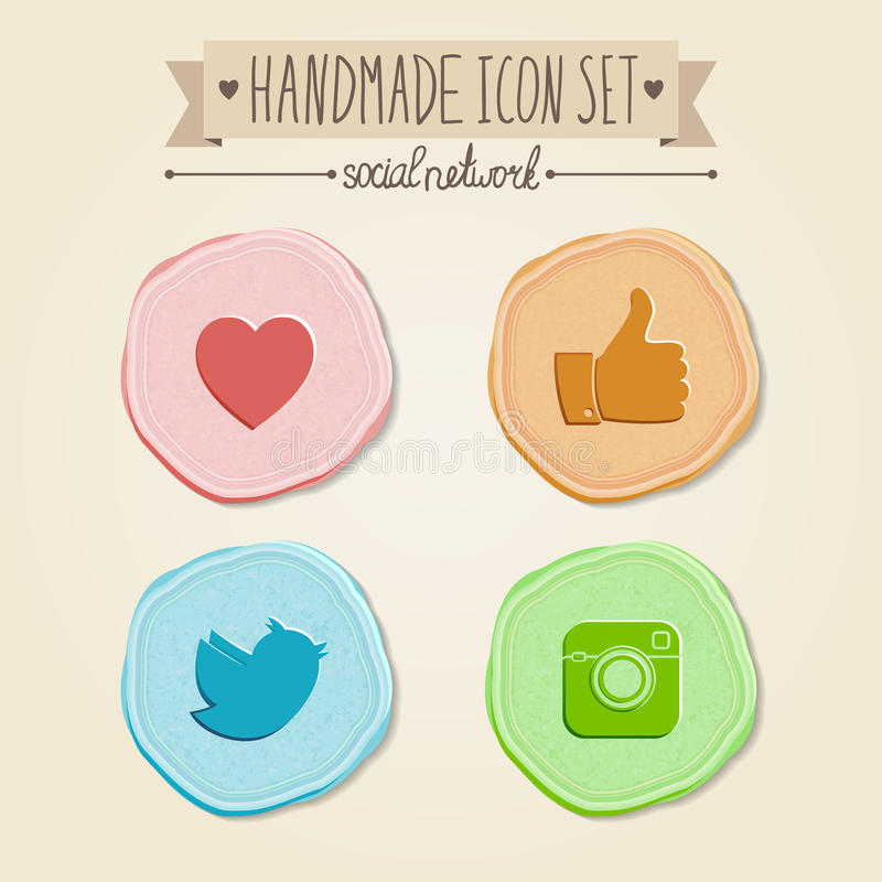 Uppsättning av sociala nätverkssymboler i tappningstil stock illustrationer