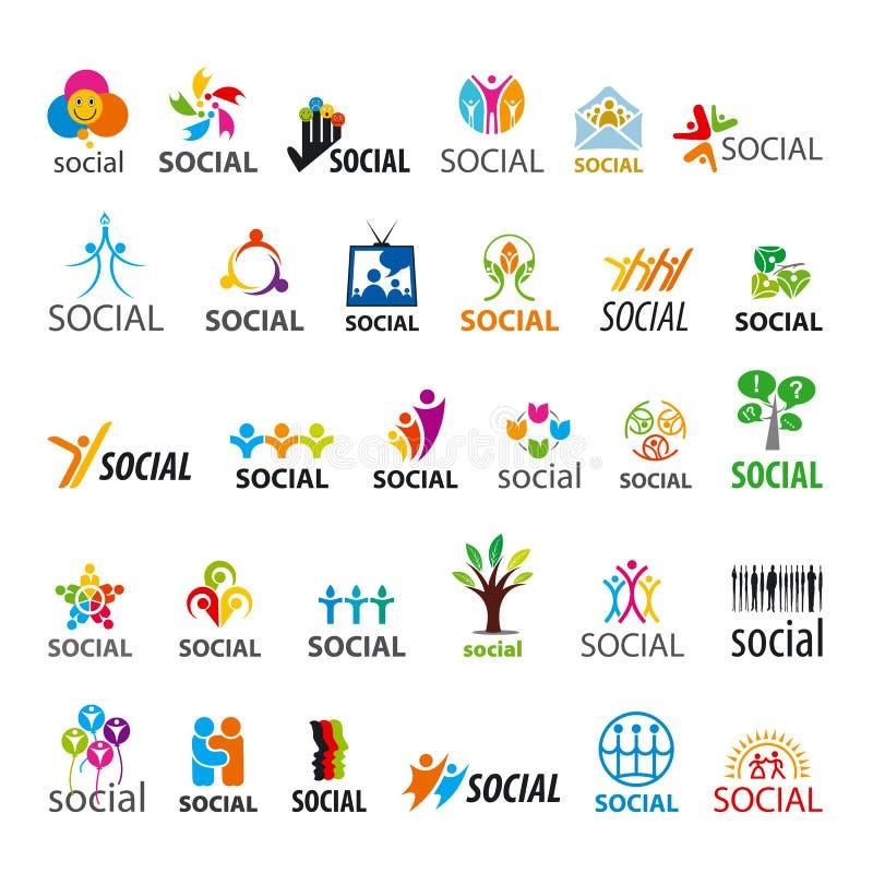 Uppsättning av sociala vektorlogoer stock illustrationer