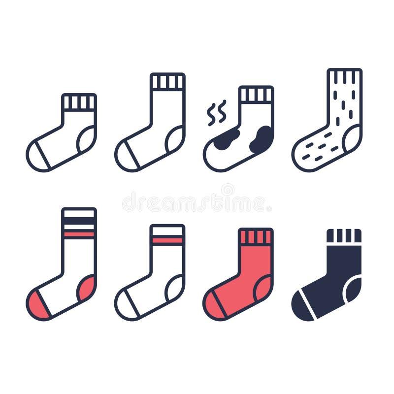Uppsättning av sockasymboler stock illustrationer