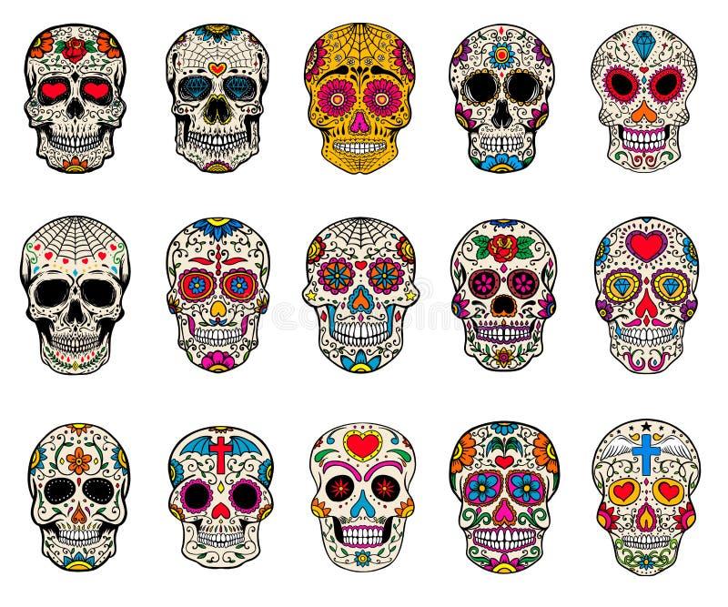 Uppsättning av sockerskalleillustrationer död dag de diameter los muertos vektor illustrationer