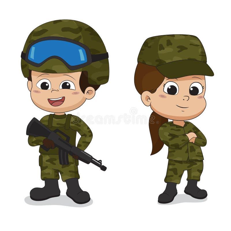 Uppsättning av soldater Tecknad filmteckendesign som isoleras på vit backg vektor illustrationer