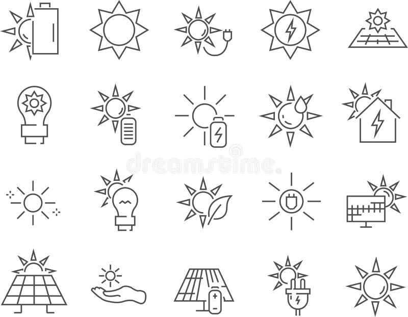 Uppsättning av solenergilinjen vektorsymboler vektor illustrationer
