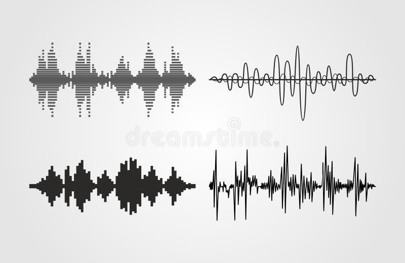 Uppsättning av solida vågor för vektor Ljudsignal utjämnareteknologi, pulsmusikal vektor illustrationer