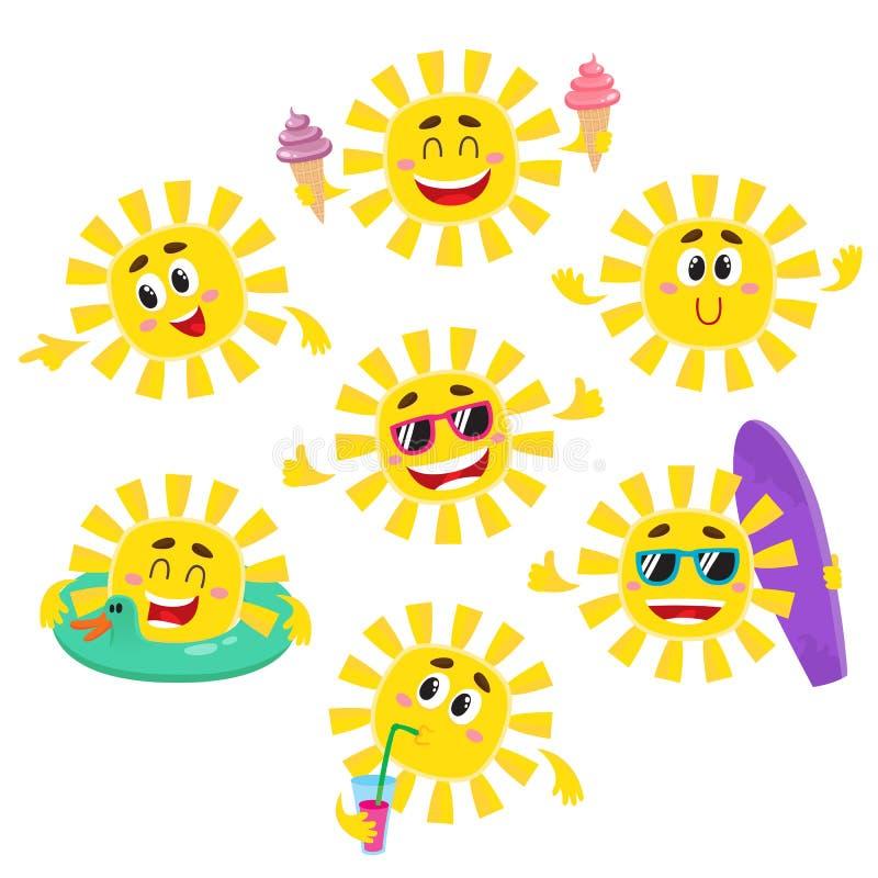 Uppsättning av soltecken med glass, drink, surfingbräda, solglasögon stock illustrationer
